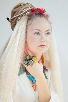 Photoshoot for Sara Amrhein Jewelry Design. Jewelry by Sara Amrhein Firenze, hair by Anna Rose, clothing by Florien Becking, photography by Dorin Vasilescu. Model Nikita de Kleijn. 2014.