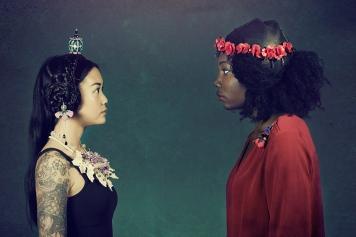 Jewelry by Sara Amrhein, hair by Anna Rose, photography by Dorin Vasilescu. Model Tiffany Huan and Lin Johnson. 2014